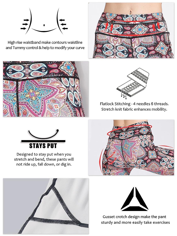 MUMUWU Women Yoga Pants Printed High Waist Power Flex Capris Workout Leggings for Fitness Running