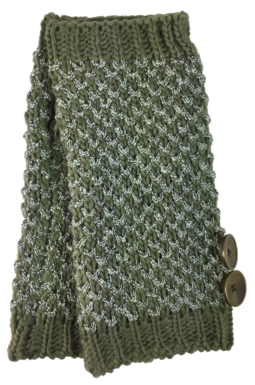 Simply Noelle Bumble Wrist Warmers with Buttons (Fern)