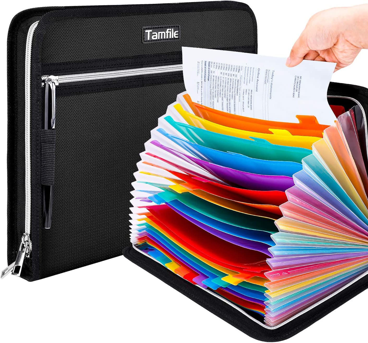 Tamfile Fireproof Waterproof Safe Expanding File Folder Accordion Document Organizer with 24 Pockets Portable Money File Bag Filing Holder and Color Lables/3Zippers A4 Letter Size (Black,14.3