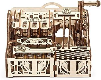 UGEARS maquetas para Construir para Adultos- Caja registradora Puzzle 3D - Modelo mecánico uniqo - Kit para Adultos y Adolescentes - Rompecabezas Madera 3D para Construir - Kits de construcción 3D: Amazon.es: