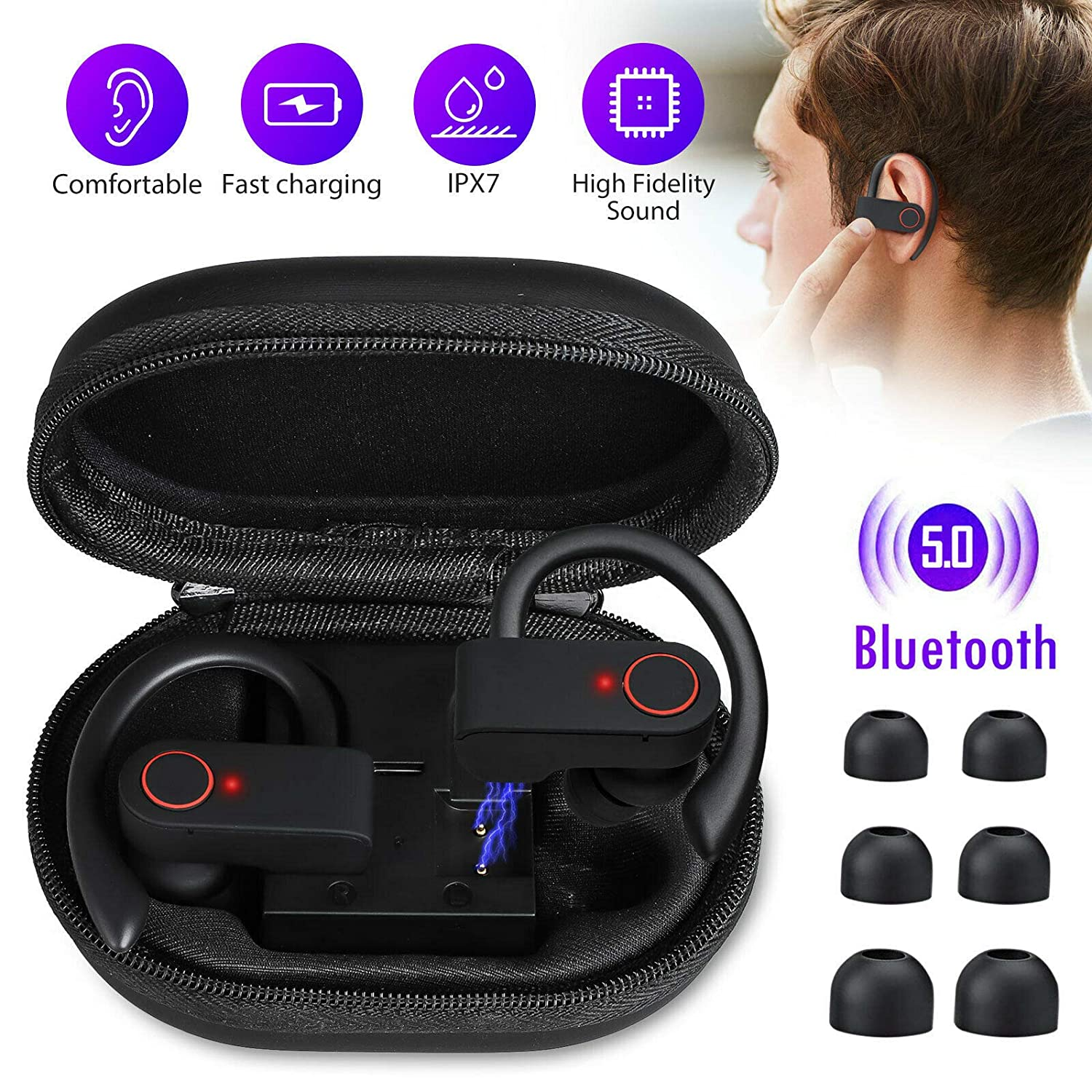Case Safety 1x True Wireless Sport Headphones Bluetooth Earphones Twins Ear Hook Bass Headset