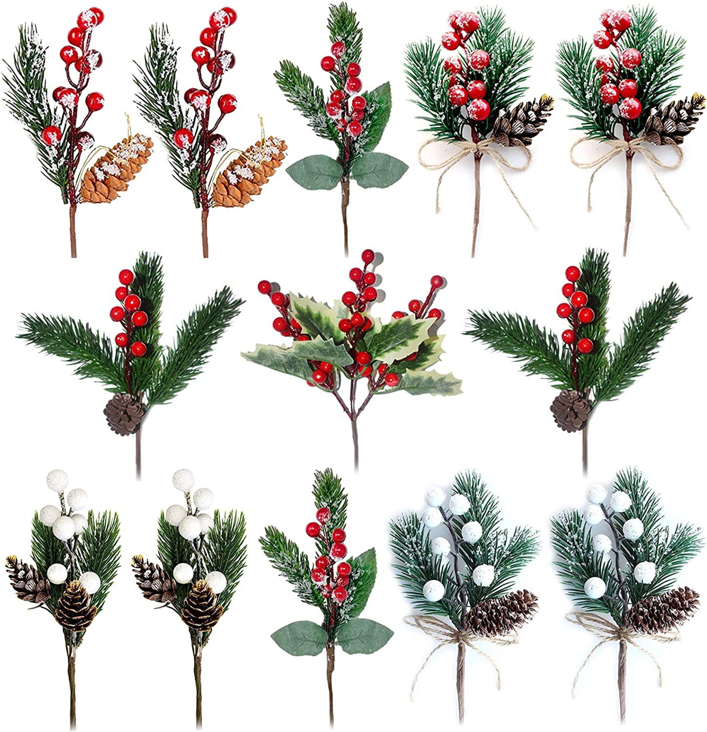 VVIP Artificial Christmas Pine Picks,13PCS Artificial Pine Branches with Red Berries/White Berries/Holly Leaves, Berry Picks for Christmas Decor DIY Crafts Gift Wrapping Flower Wreaths Floral Picks