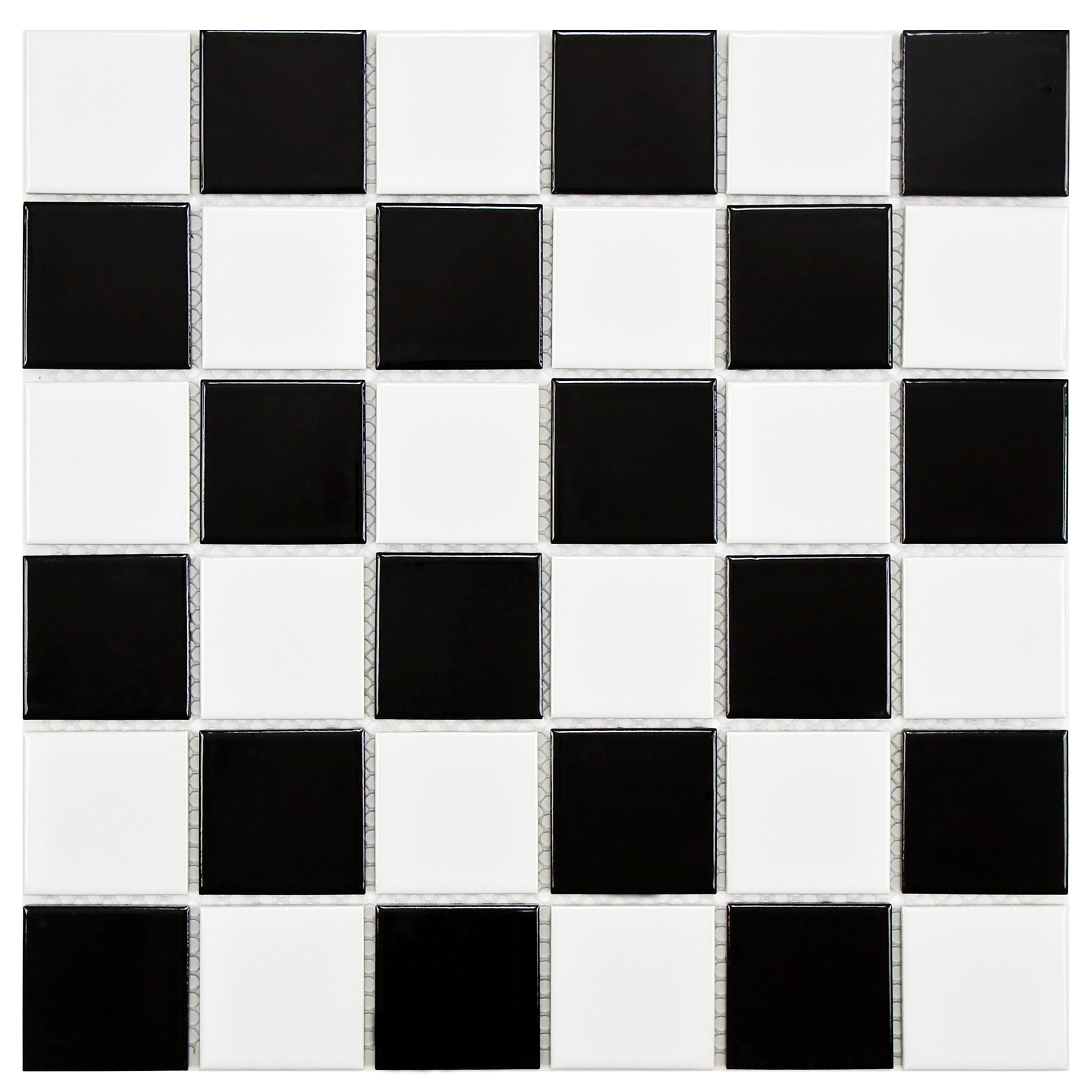 SomerTile FYFB2SCH Polar Square Checker Porcelain Floor and Wall Tile, 11.875'' x 11.875'', White/Black