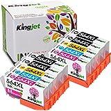 564XL Ink Cartridges, 4 Color High Yield Replacements Compatible with Photosmart 5510 5520 5525 6510 6512 6520, Officejet 4610 4620 4622, Deskjet 3520 3521 3522-Kingjet 10Pack (2SET + 2BK)