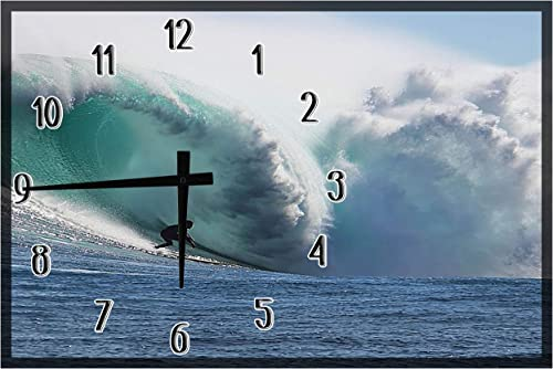 American Unlimited Wood Wall Clock Surfing Ocean Waves Beach Outdoor Recreation Large Clock Wall Art 12 x 18 inch Home Decor