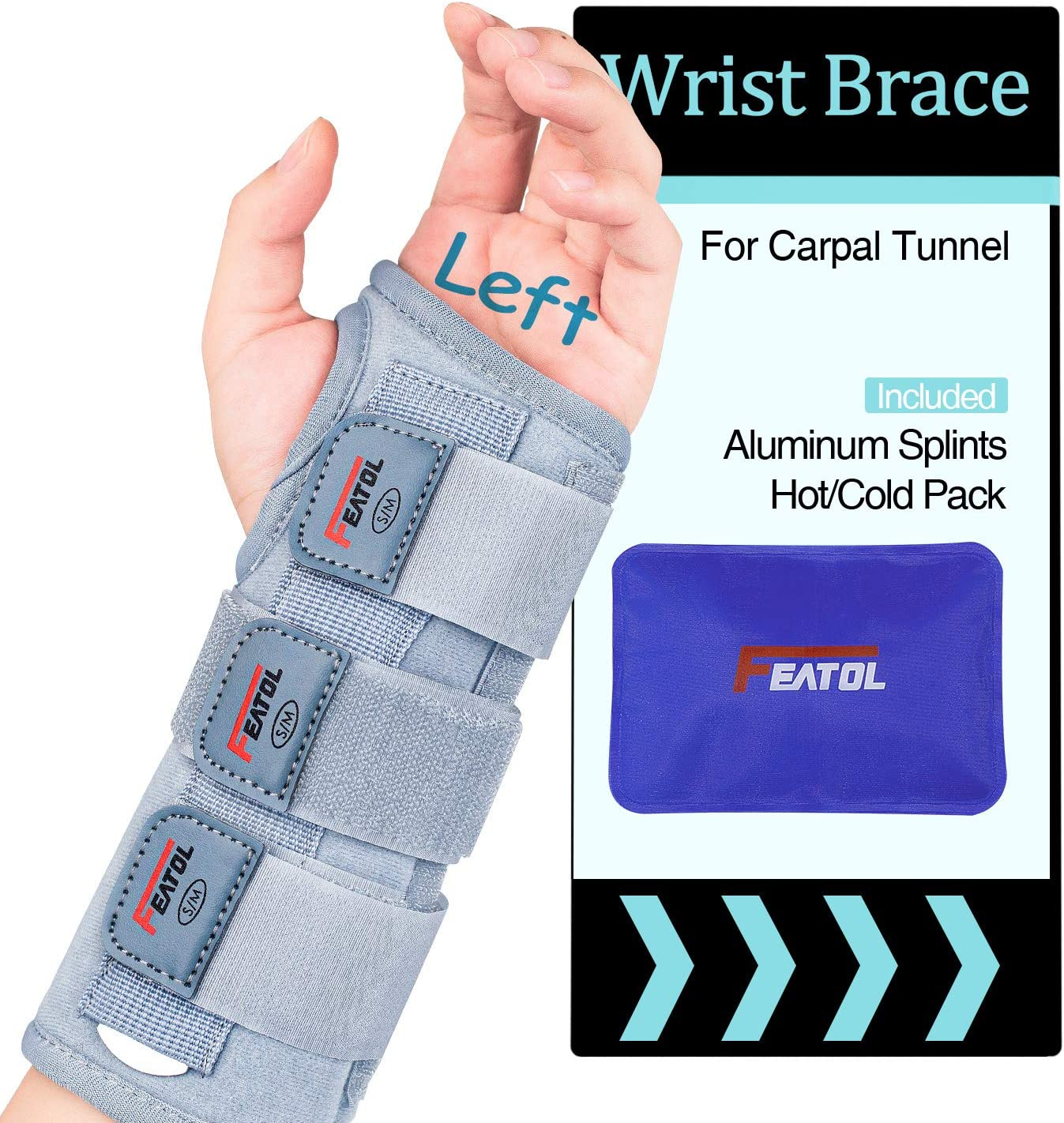 Carpal Tunnel Wrist Brace | Night Sleep Support Brace, Removable Metal Wrist Splint- Hot/Ice Pack, Left Hand, Large/X-Large, Adjustable Hand Brace for Men, Women, Relieve and Treat Wrist Pain