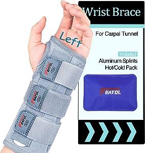 Carpal Tunnel Wrist Brace | Night Sleep Support Brace, Removable Metal Wrist Splint- Hot/Ice Pack, Left Hand, Large/X-Large, Adjustable Hand Brace for Men, Women, Relieve and Treat Wrist Pain