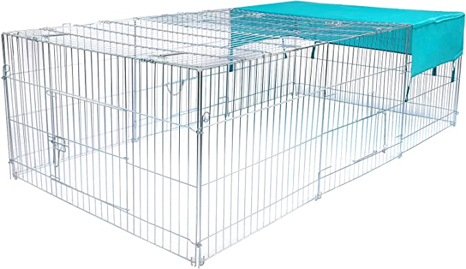 EUGAD Jaula para Conejo Recinto Hámster Ardilla Gallinero Pequeños Animales Conejera Exterior con Protección contra el Sol Plata 210 x 110 x 65cm 0002TSL