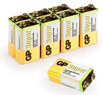 GP Batteries 23A/A23/MN21 - Pilas alcalinas de Alto Voltaje (E23A/MS21/MN21/LRV08/A23, 12 V, 10 Unidades) Sencillo 9 Volt Block: Amazon.es: Electrónica