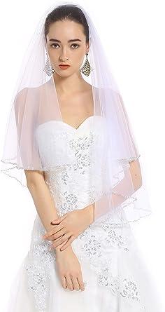 """2T Bridal White Fingertip Length Beaded Edge 30/"""" x 36/""""  Wedding Veil"""