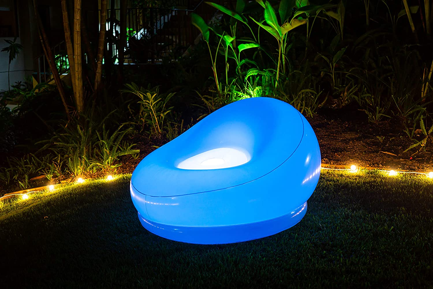 Air Candy by PoolCandy Illuminated LED Inflatable Chair, Accent Contemporary Lounge Chair for Living, Bedroom, Dorm, Patio Decor, Indoors or Outdoors, Waterproof, 120 Color Changing Options w/Remote