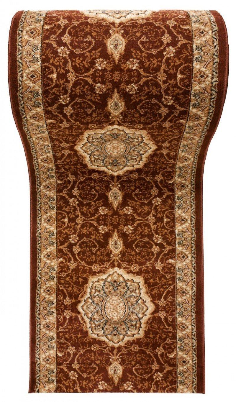 Tappeto Passatoia per Corridoio Classico Orientale - Disegno Persiano 3D Motivo - al Metro Collezione Runner  ISKANDER di Carpeto - Marrone Beige - 90 x 275 cm