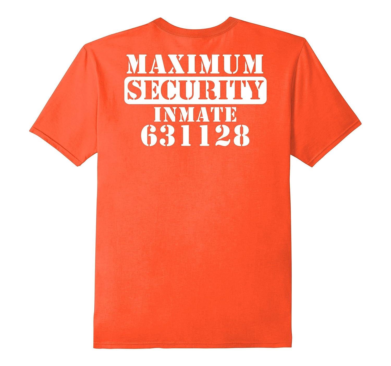 Maximum Security Inmate Halloween Costume Back Print T-shirt-T-Shirt