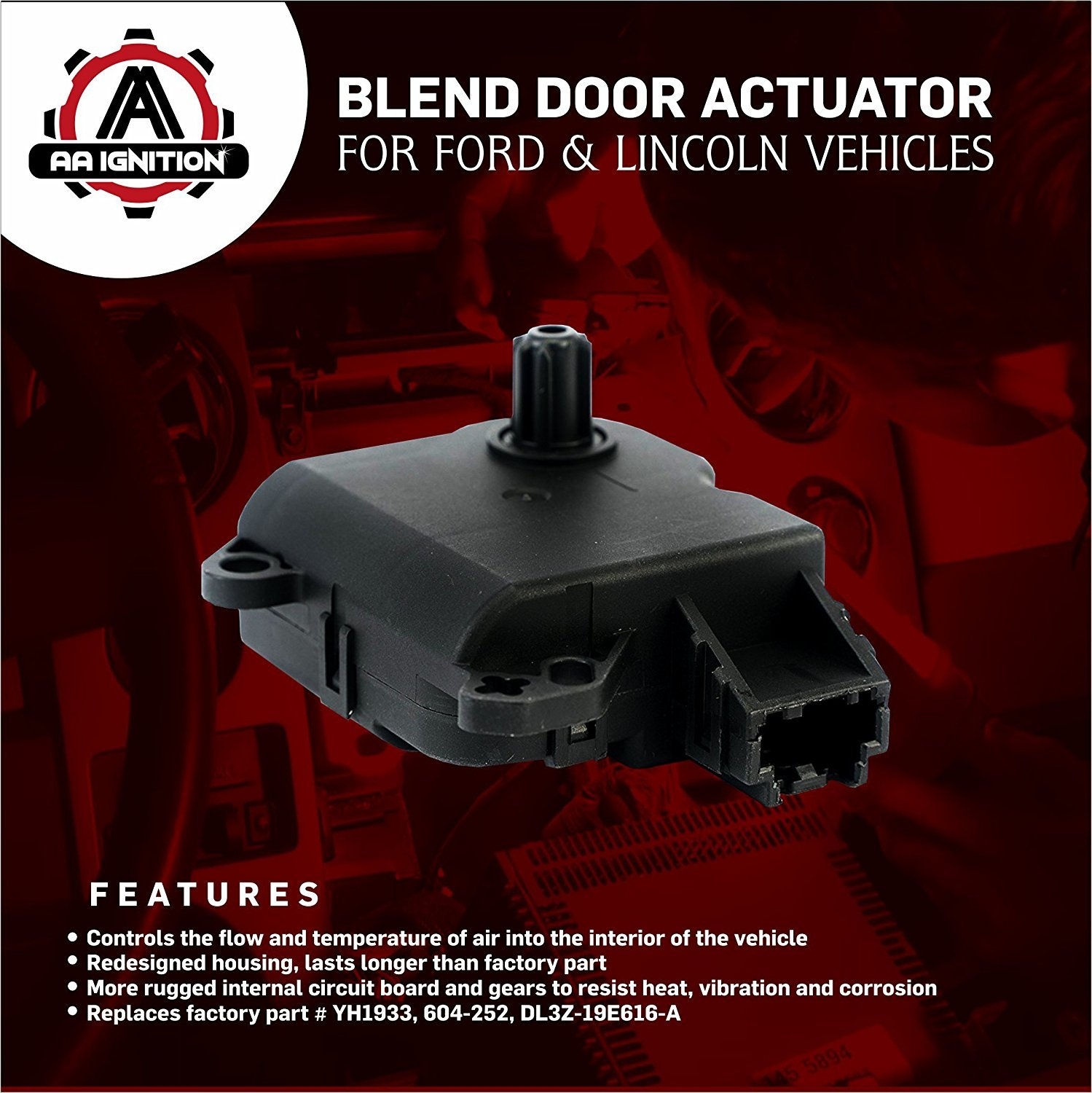 Heater Blend Door Actuator Replaces Yh1933 604 252 2009 Ford Flex Hvac Control Wiring Diagrams Dl3z 19e616 A Fits F150 2010 2011 2012 2013 2014
