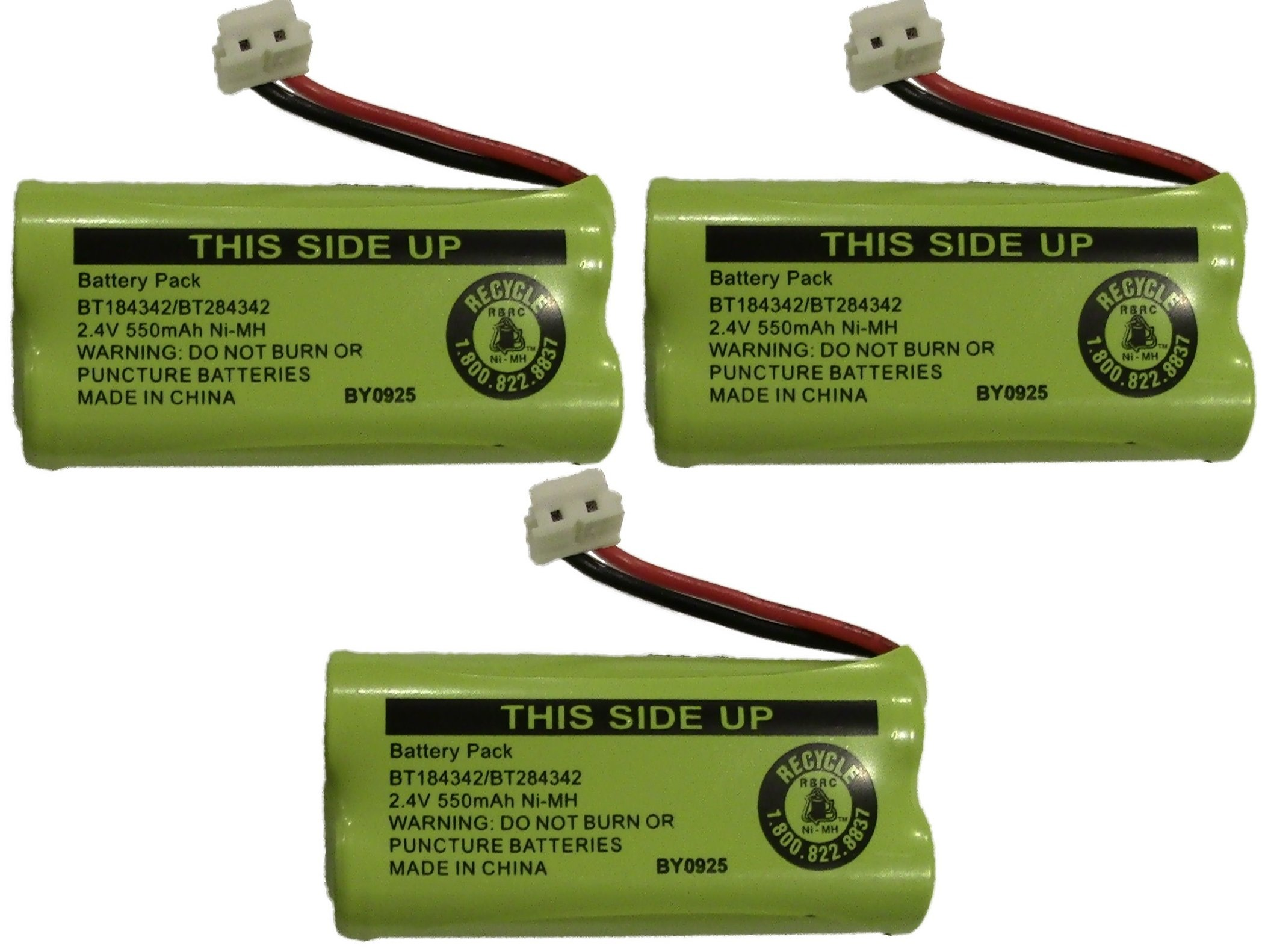 JustGreatDealz Battery BT184342 / BT284342 for AT&T Vtech GE RCA and Clarity Phones 2.4V 550mAh Ni-MH (3-Pack)