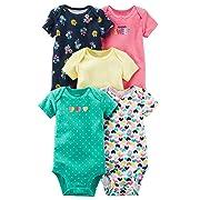 Carter's Baby Girls 5 Pack Bodysuit Set, Super Sweet/hearts, 9 Months