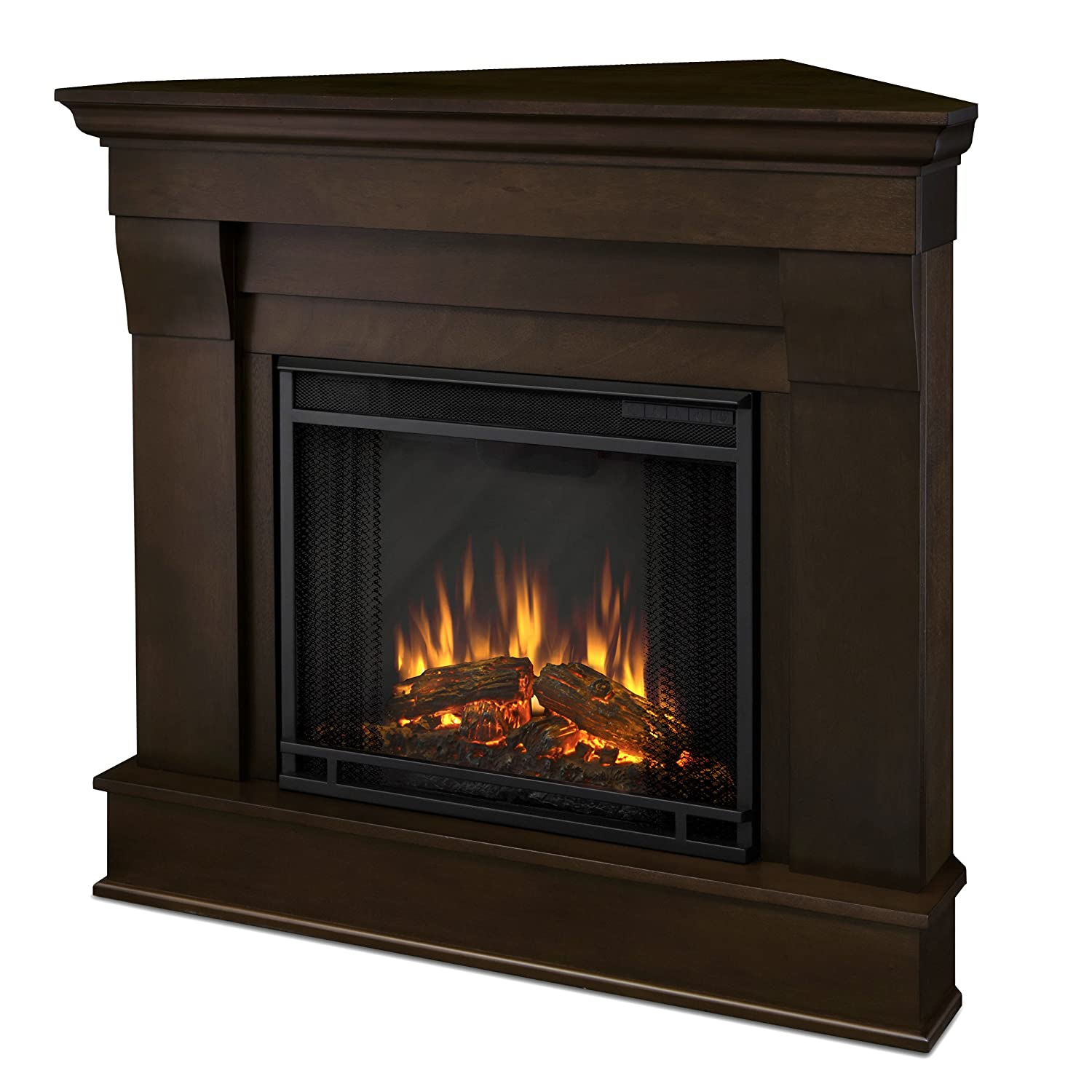 Amazon com real flame 5950e chateau corner electric fireplace small dark walnut home kitchen