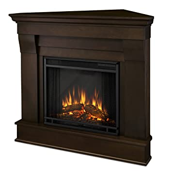 Beau Real Flame 5950E Chateau Corner Electric Fireplace, Small, Dark Walnut