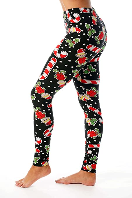 718e6b399e6650 Just Love Ugly Christmas Holiday Leggings at Amazon Women's Clothing store: