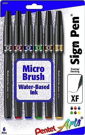 Pentel Sign Pen Micro Brush 6 Color Pack: Amazon.es: Hogar