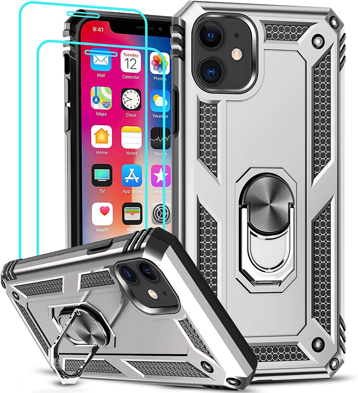 LeYi Compatible for iPhone 11 Case with [2 Pack] Tempered Glass Screen Protector, Military-Grade Armor Phone Cover Case with Ring Magnetic Car Mount Kickstand for iPhone 11 6.1 inch, Silver