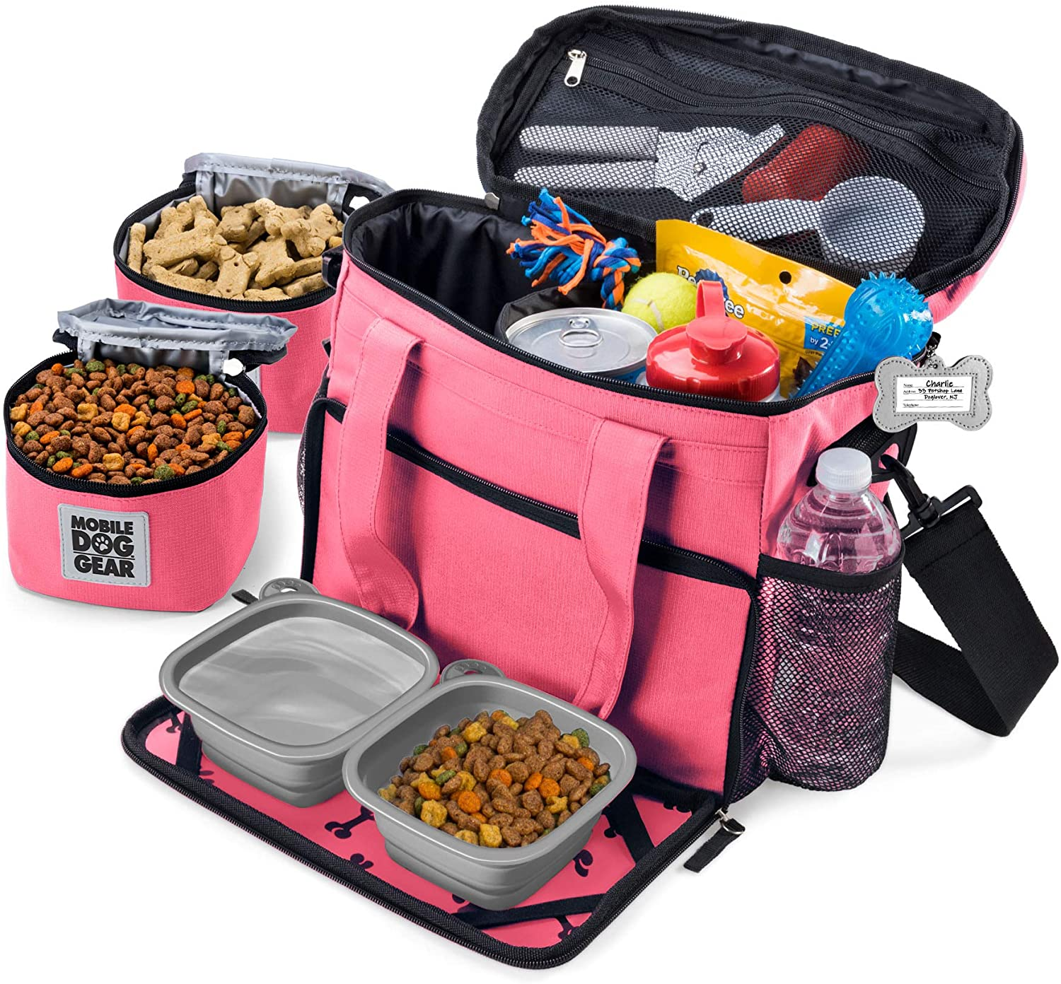 Mobile Dog Gear, Week Away Dog Travel Bag for Small Dogs, Includes Lined Food Carriers and 2 Collapsible Dog Bowl, Pink