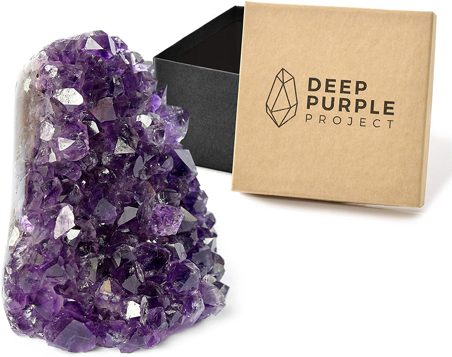 Deep Purple Project Amethyst Crystal Geodes 1/2 to 1 Lb in a Premium Gift Box, Large Clusters Perfect for Spiritual Home Decor, Polished Quartz from Uruguay