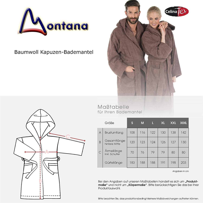 CelinaTex Montana Bademantel mit Kapuze L Taupe Baumwolle Morgenmantel Frottee Damen Herren Saunamantel