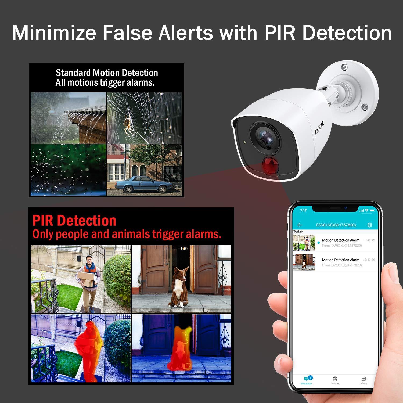 ANNKE Kit de Seguridad 8CH DVR 3MP 5-en-1 H.265 y 4 C/ámaras de vigilancia CCTV 1080P IP66 PIR Detecci/ón Alarma de luz Intermitente Acceso Remoto-sin HDD