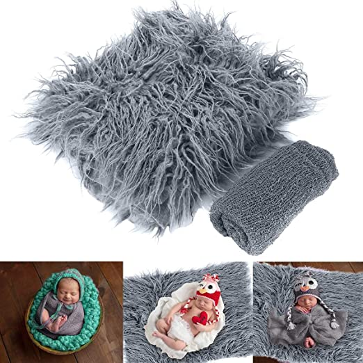 Photography Wrap Mat for Baby Boys and Girls Haokaini Newborn Photo Props Fluffy Blanket Ripple Wrap Sets Gray