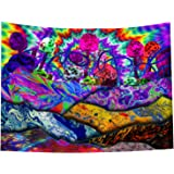 Trippy Tapestry Psychedelic Mountain - Magic Mushroom Wall Hanging Multiple Colorful Hippie Tapestries Art Window Treatments