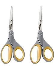 """Westcott 13901 8"""" Straight Titanium Bonded Scissors, Gray/Yellow, 2 Per Pack"""