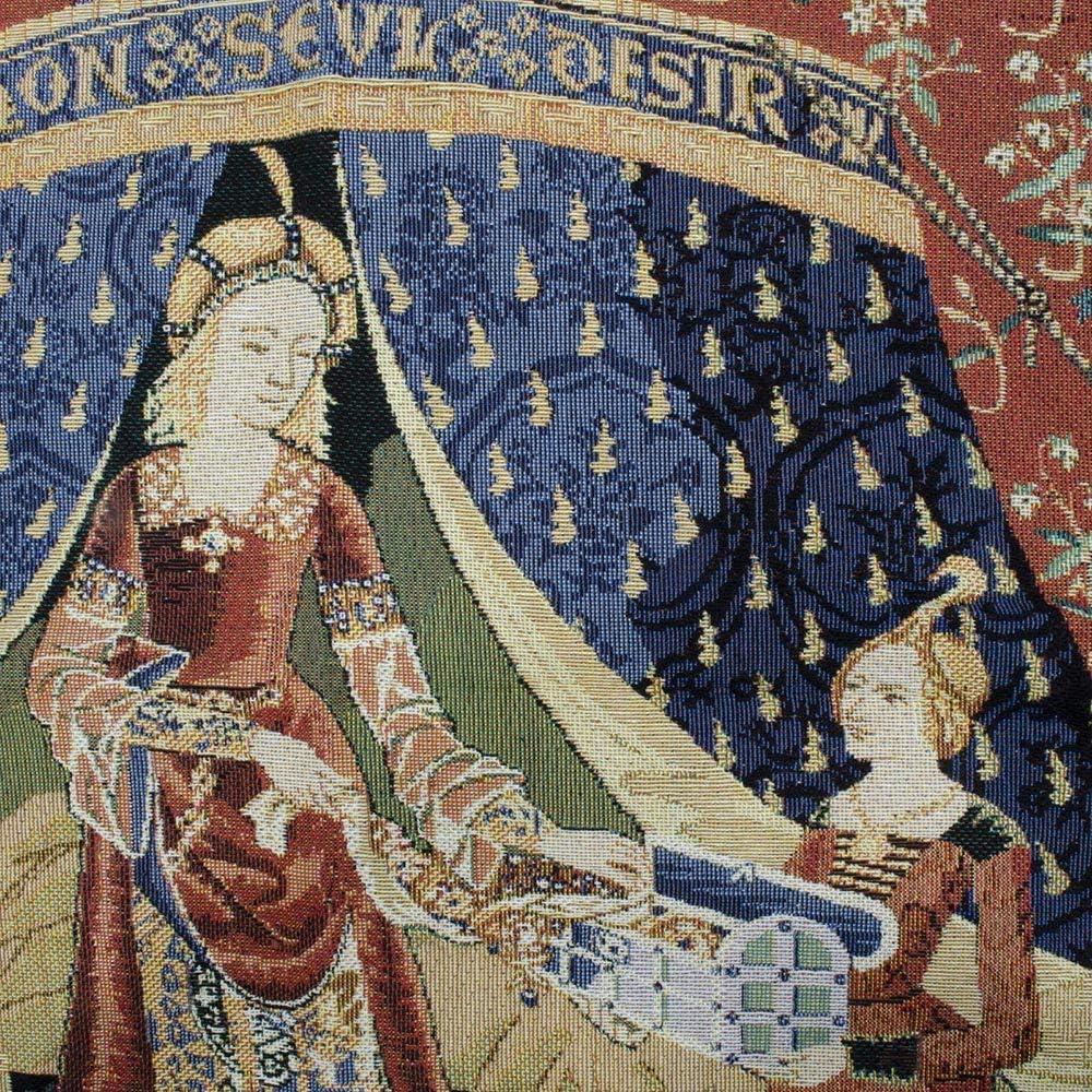 Tapisserie murale de Signare // Dame et la Licorne 120cm x 85cm A Mon Seul Desir WH-LU-DE