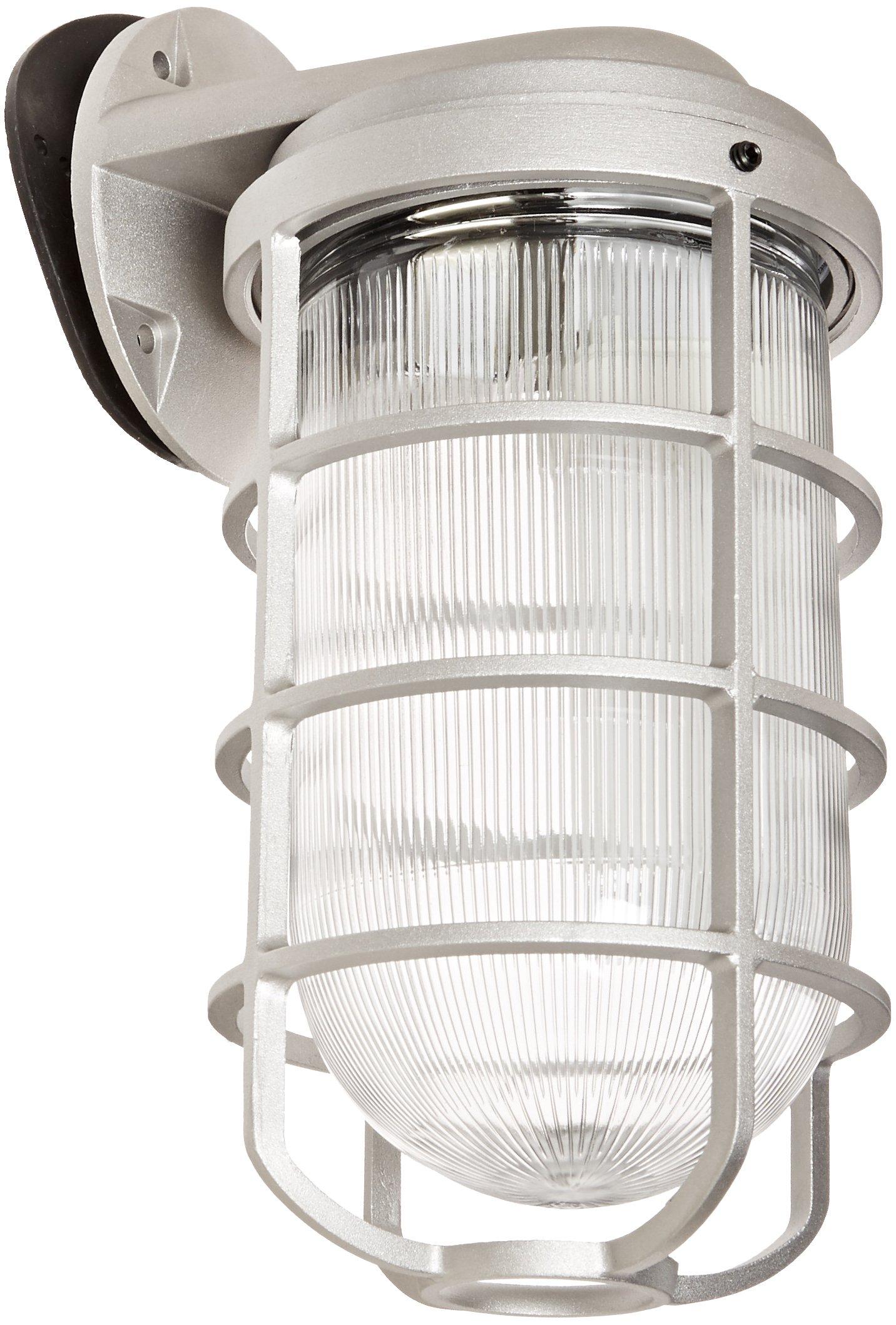 RAB Lighting VBR200DG/F22 Vaporproof Glass Globe Cast Guard Compact Fluorescent Fixtures with Wall Mount Bracket, Quad Type, Aluminum, 22W Power, 1200 Lumens, 120V, Natural by RAB Lighting (Image #1)