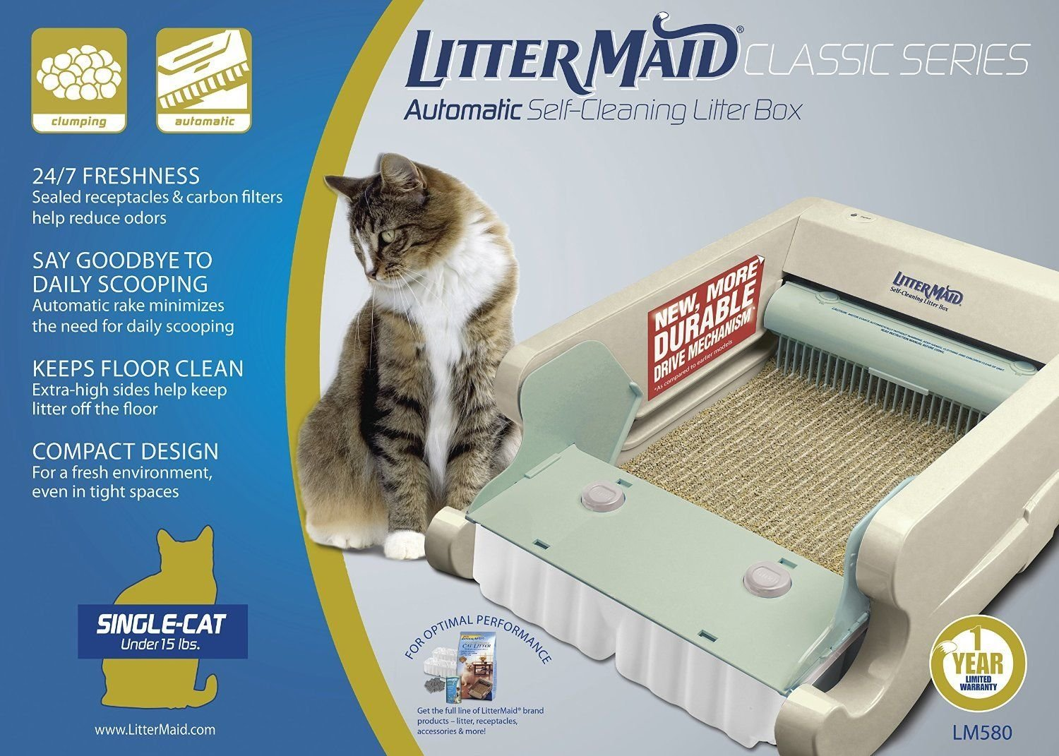 Littermaid LM680C Automatic Self-Cleaning Classic Litter Box (LM680C) Removes Waste And Controls Offensive Odors Perfect For Single Or Multi Cat Households by LitterMaid