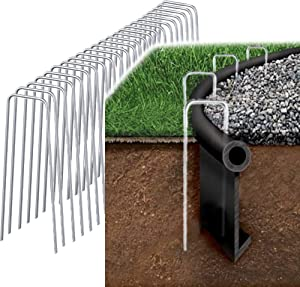 200 Pack 6 Inch Garden Staples Landscape Spikes Anchoring Pin Galvanized Steel Weed Barrier Fabric Ground Cover