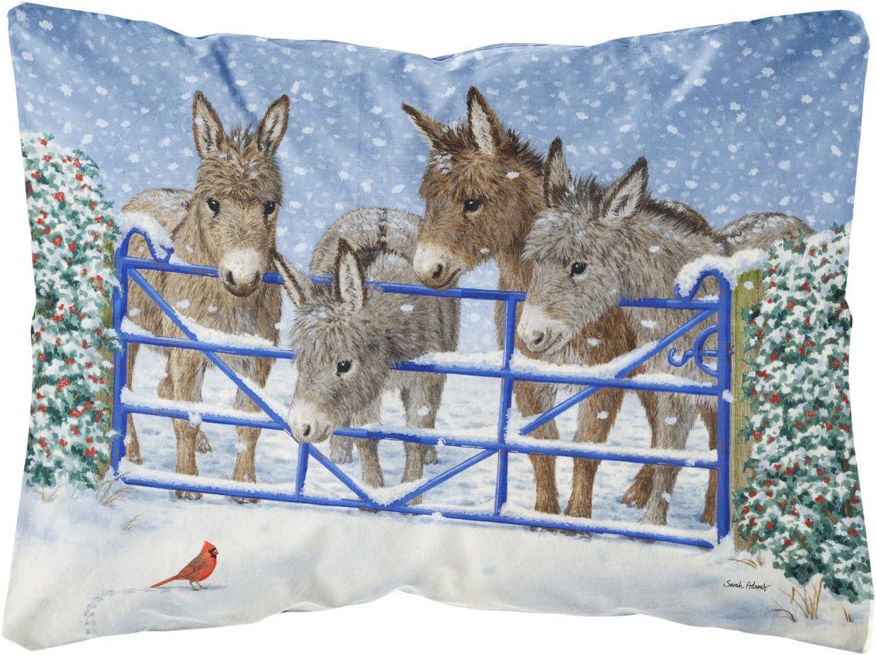 Caroline s Treasures ASA2209PW1216 Donkeys and Cardinal Fabric Decorative Pillow, 12H x16W, Multicolor
