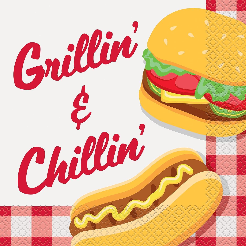 Paper Plates and Napkins Unique Burger BBQ Picnic Party Supplies Bundle