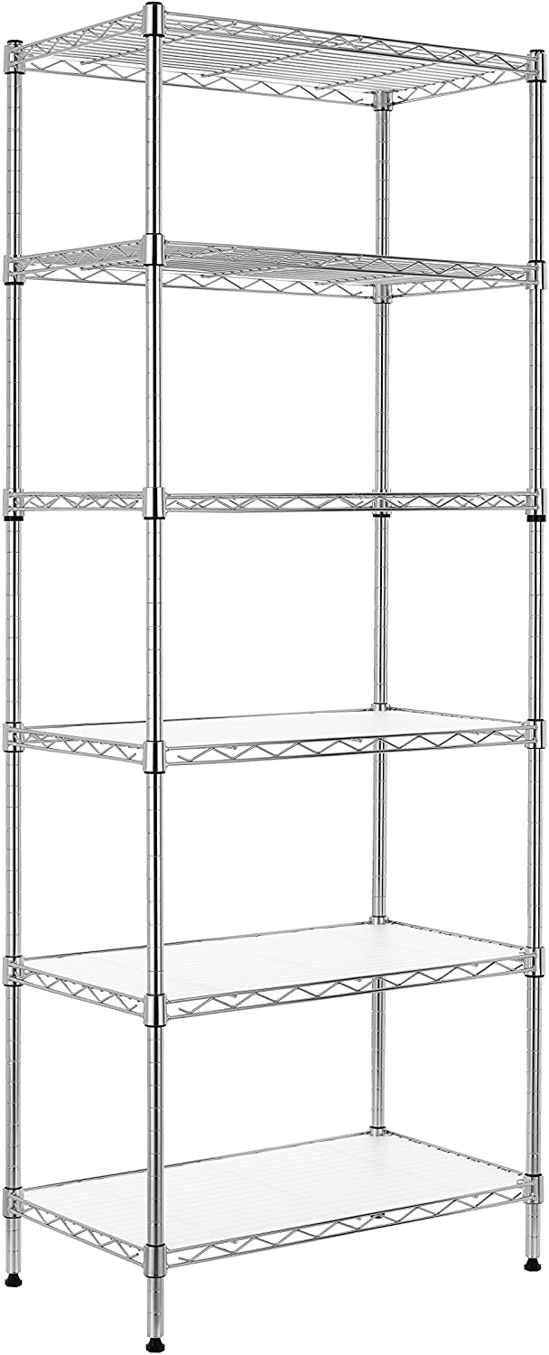 Finnhomy 6-Tier Wire Shelving Unit Adjustable Steel Wire Rack Shelving 6 Shelves Steel Storage Rack or Two 3 Tier Shelving Units with PE mat and Stable Leveling Feet, Chrome: Kitchen & Dining