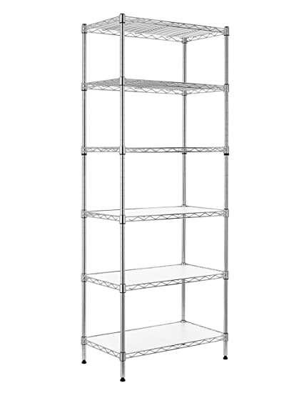 Finnhomy 6 Tier Wire Shelving Unit Adjustable Steel Wire Rack Shelving 6  Shelves Steel Storage