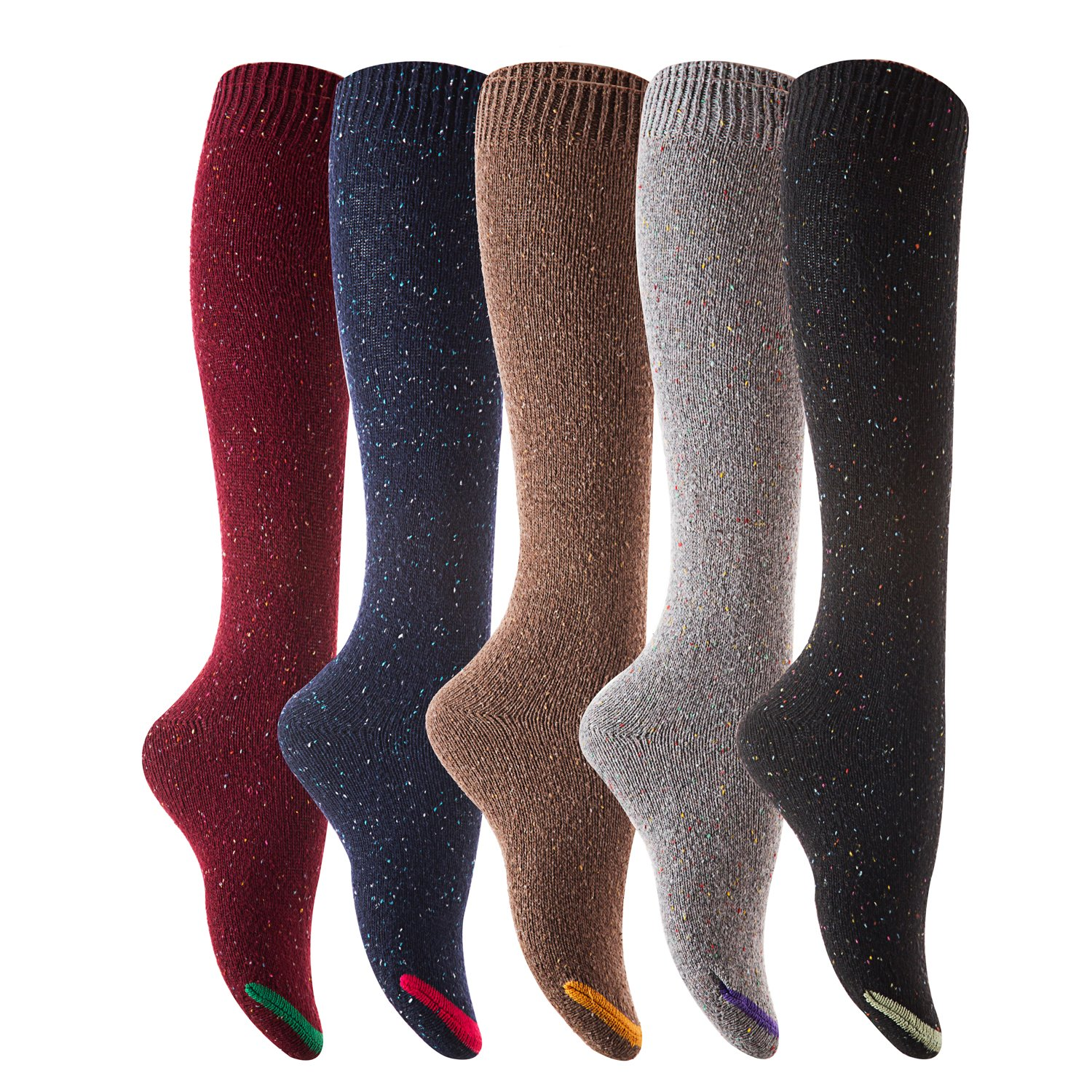 Lovely Annie Womens 5 Pairs Pack Knee High Cotton Socks Size 7-9
