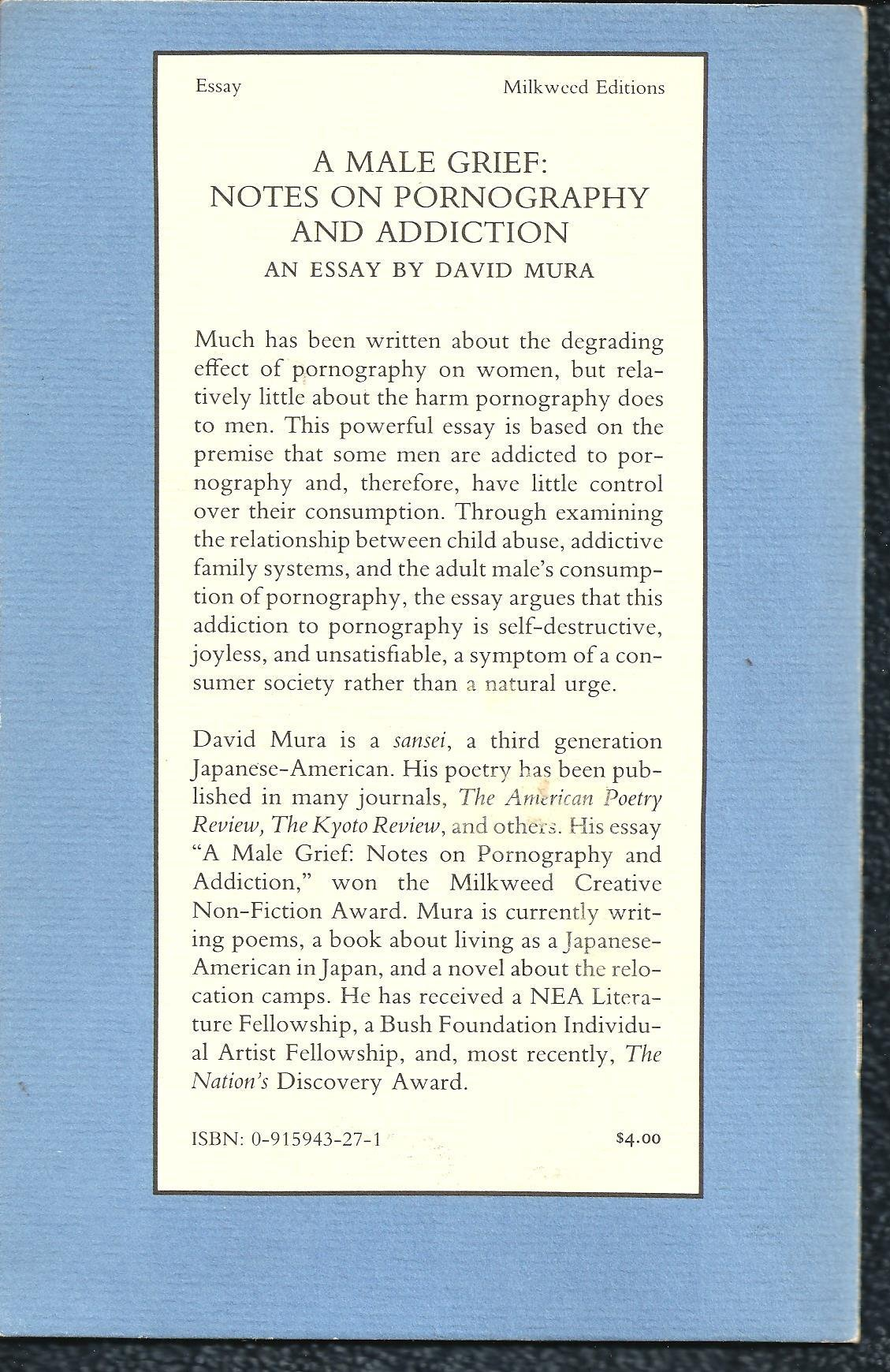 a male grief notes on pornography and addiction an essay david a male grief notes on pornography and addiction an essay david mura 9780915943272 com books