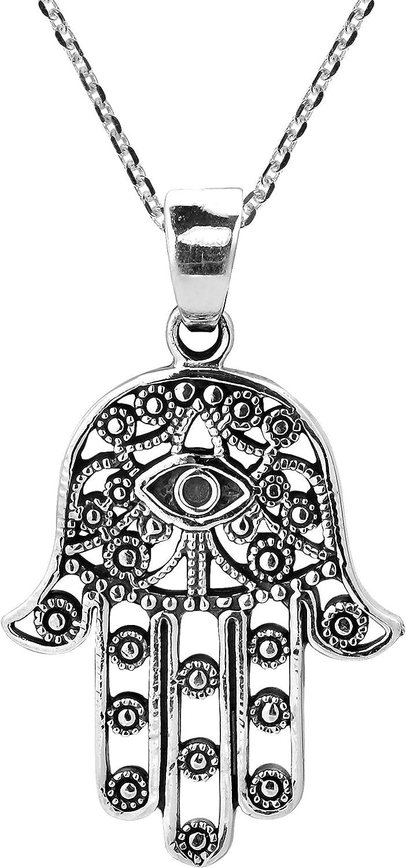 Hamsa Hand of Fatima Judaica Evil Eye Pendant .925 Sterling Silver /& CZ Necklace