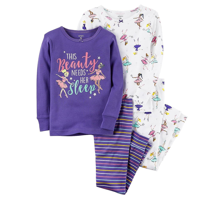Carters Girls 2T-4T 4 Piece Ballerina Snug Fit Cotton PJS
