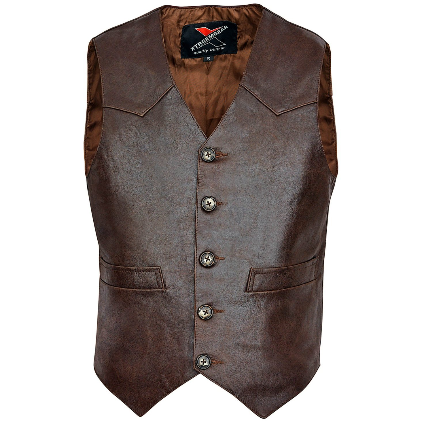 Brown Men's Premium Leather Vest Western Style V117