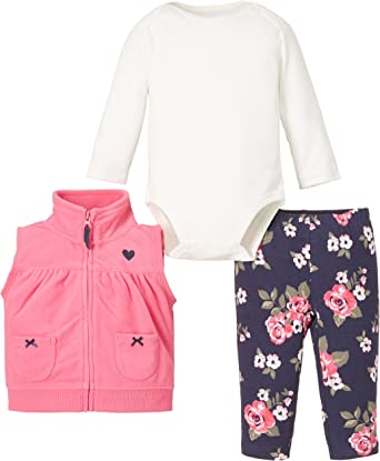 ASSORTED NWT Carters Girls 3-pc Sets Outfits Fleece Hoodie Vest Jacket NB-24 Mo
