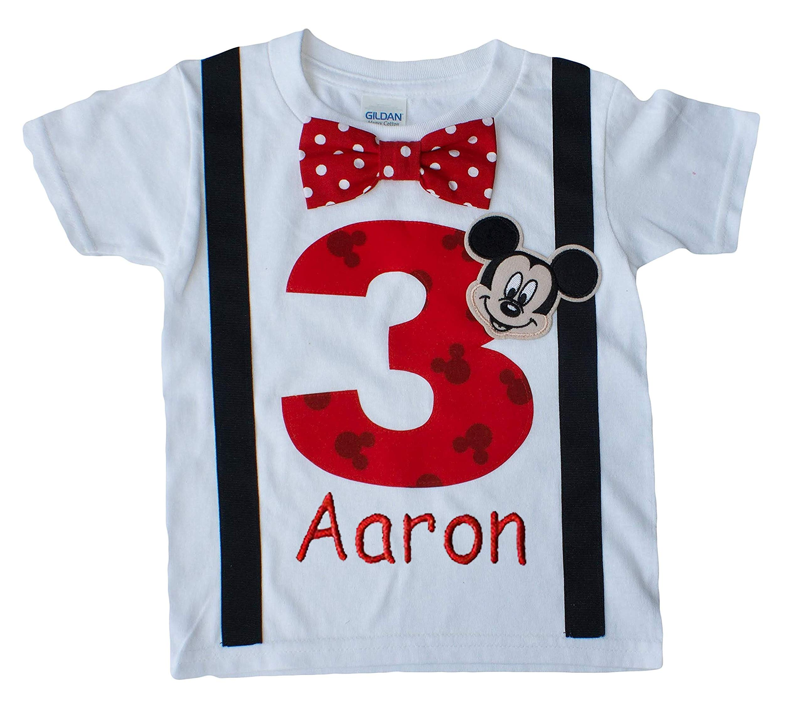 3rd Birthday Shirt Boys Mouse Tee Personalized (3T Short Sleeve, White-Black-red Dot) by Perfect Pairz