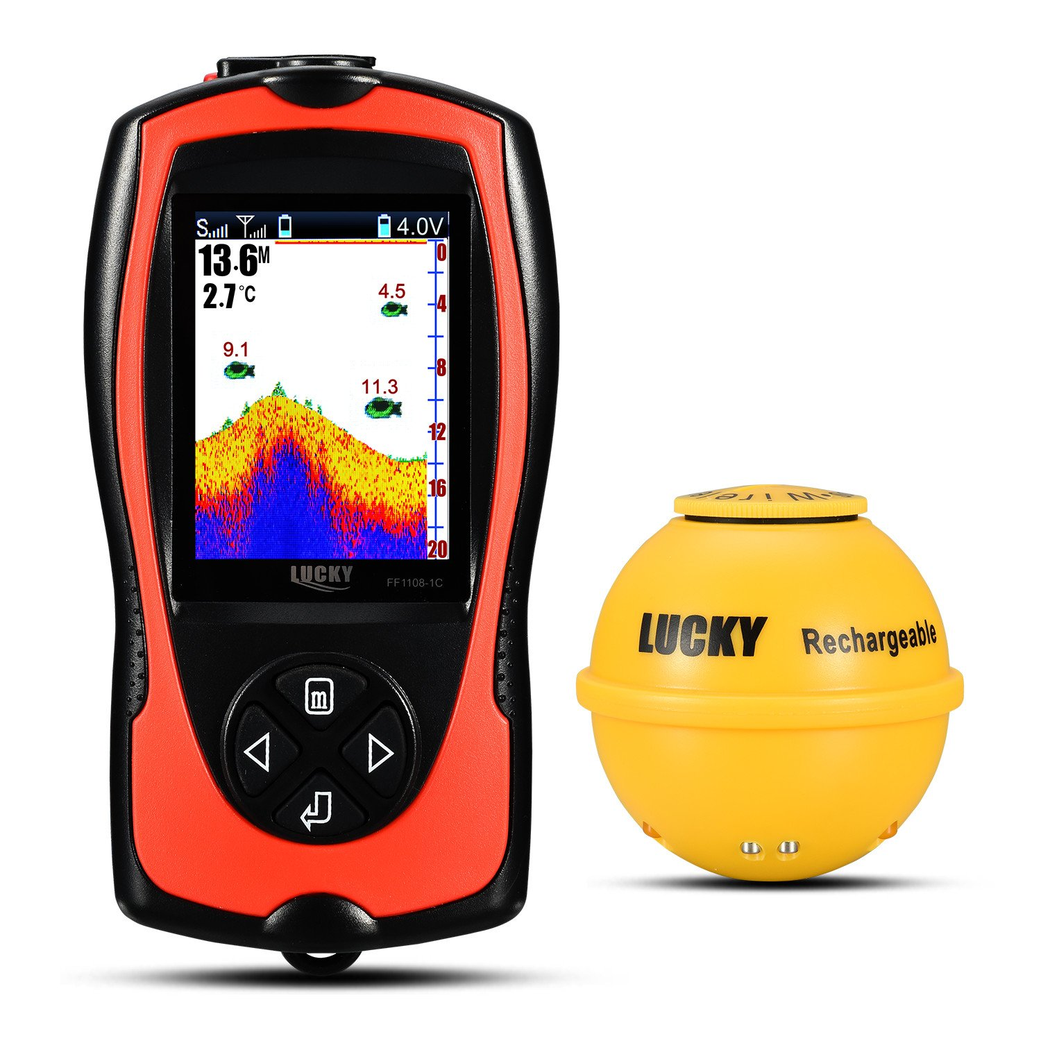 Lucky Portable Smart Fish Finder with High Definition LCD Display and Fish Attractive lamp for Shore Fishing