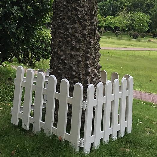 hineway vivero jardín valla árbol de Navidad decoración de la pared frontera Picket Fences blanco PVC vallas 19 x 11inches 4pcs: Amazon.es: Jardín