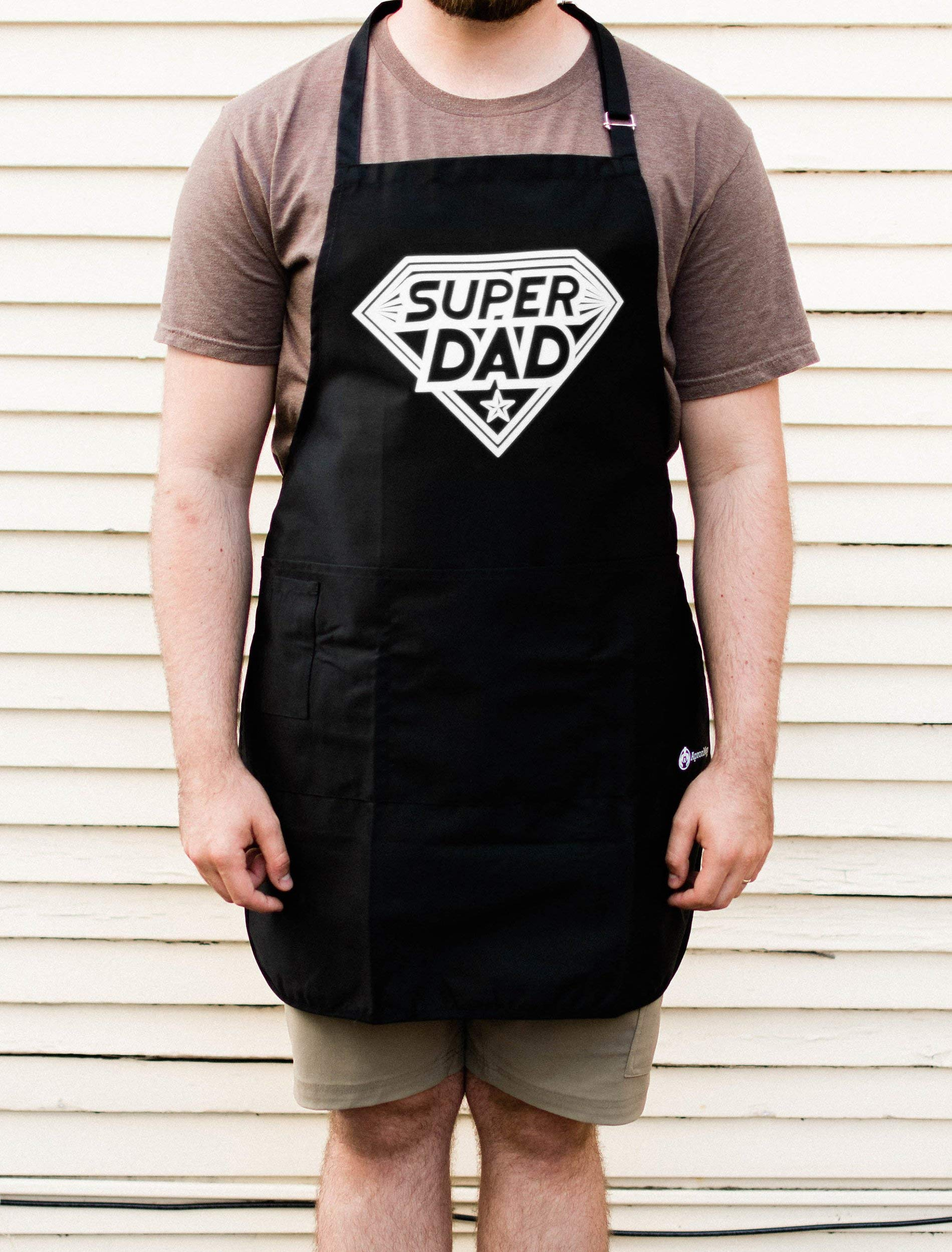 BBQ Grill Apron - Super Dad - Funny Apron For Dad - 1 Size Fits All Chef Apron High Quality Poly/Cotton 4 Utility Pockets, Adjustable Neck and Extra Long Waist Ties by ApronMen (Image #2)